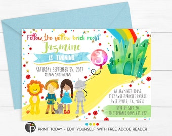 WIZARD OF OZ Invitation, Instant Download Wizard of Oz Invitation, Wizard of Oz invitations, Print yourself, Wizard of Oz Party, Printable