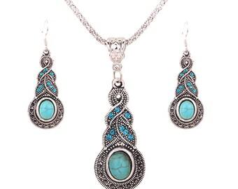 Sumptuous Retro Jewelry Rhinestone Earrings Necklace Jewel Set