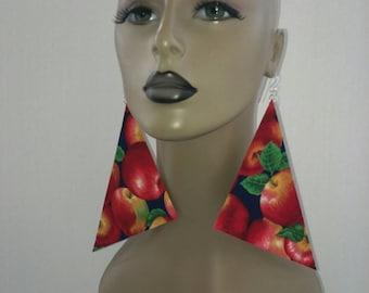 Attractive Black and Multi Apple Print Triangle Earrings, Women Earrings, Fashion Fabric Earring, Large Earrings, Big Earrings