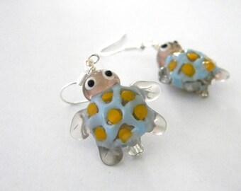 Turtle Lampwork Glass Earrings Light Blue Tortoise Earrings