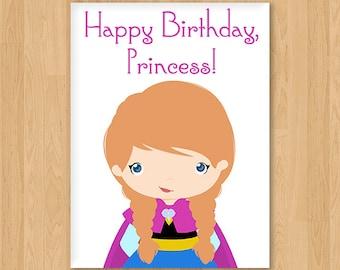 Frozen, Anna Inspired Princess Birthday Card - Blank - Free shipping!