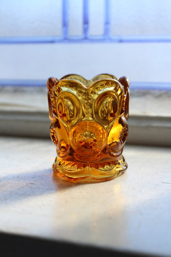 Vintage Amber Glass Toothpick Holder Moon and Star Pattern