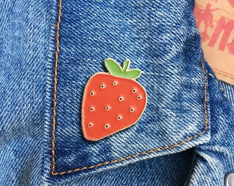 Strawberry Pin, Hard Enamel Pin, Jewelry, Gift, Art (PIN99)