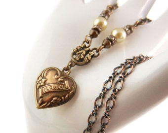 Heart Necklace, Valentine's Gift, Puffy Heart, Romantic Gift, Pearl Necklace, I Love U, Vintage Patina Brass