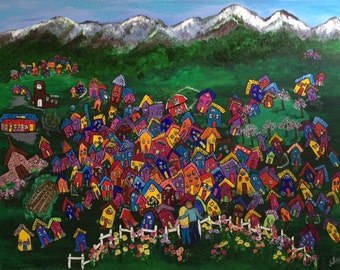 Our Alpine Home, DIGITAL DOWNLOAD, original acrylic painting, bright, colorful, mountains, home, springtime, abstract, snow covered mountain