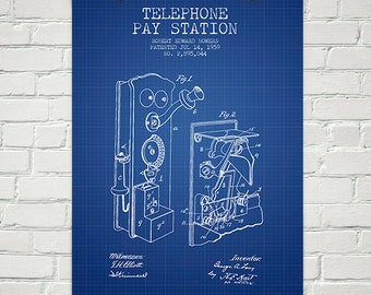 1959 Telephone Pay Station Patent Wall Art Poster, Home Decor, Gift Idea
