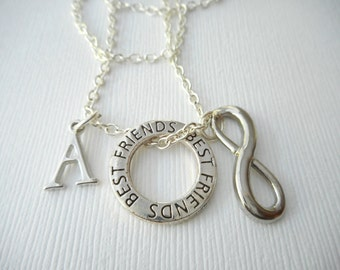 Infinity, Best Friends- Initial Necklace/ Gift for her, Mother, mom, Birthday Gift, bff jewelry, Personalized Friend, gift for bff