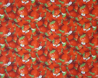REMNANT--Red and White Packed Strawberry Print Pure Cotton Fabric--3/4 Yard