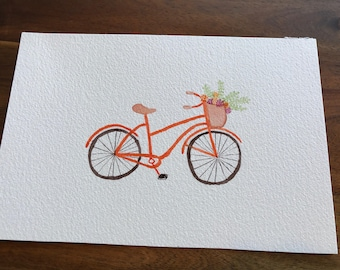 MADE TO ORDER Original Watercolor bicycle - bike with flower basket - 5x7 - 6x9