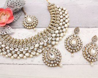 Gold Silver Indian Bollywood Kundan Necklace, Tikka & Earring Set Bridal Wedding