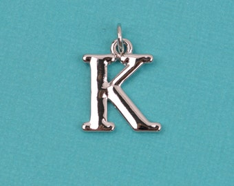 "4 KAPPA Letter K Silver Plated Charms, Greek Letter . Sorority Sister .  Silver Plated Pendant, 3/4"" tall, includes jump ring, chs2201"