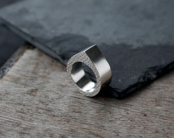 Hollow Droplet chunky silver ring