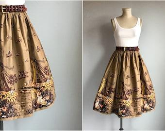 Vintage 1950s Skirt / 50s Scenic Border Novelty Print Full Skirt / Windmill Tulip Dutch Print Skirt