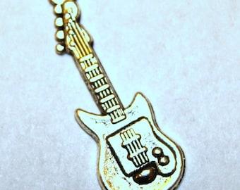 5 Antique Silver Electric Guitar Charms/Pendants  S-019
