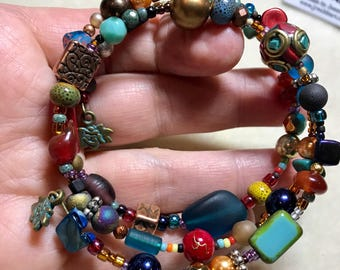 There is Fire in that Girl!!    Brightly colored beaded Wrap Bracelet FREE SHIPPING!