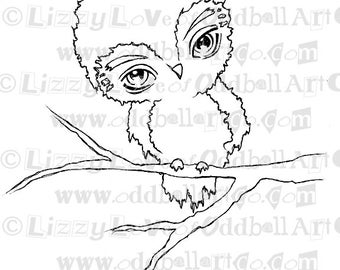 Digi Stamp Digital Instant Download Cute Kawaii Big Eye Owl On Tree Image No. 58 A B by Lizzy Love