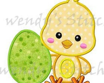 Easter chick with egg applique machine embroidery design digital