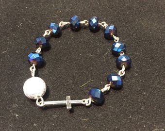 Blue and Silver Single Decade Pocket Rosary