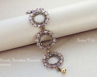 Beaded Bracelet Tutorial - Sturdy Rosettes Bracelet - Beading Tutorial - Digital Download
