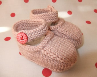 Hand knitted pink Mary-Jane baby shoes  -  Available in sizes 0-3/3-6 and 6-9 months