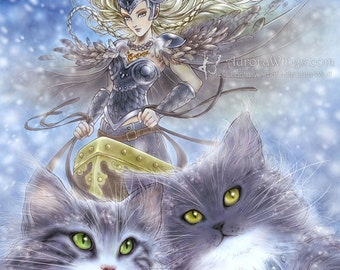 Free Shipping to US - Norse Goddess Freyja as Queen of the Valkyries - Freya & Her Cats - 5x7 Fantasy Art Print - by Mitzi Sato-Wiuff