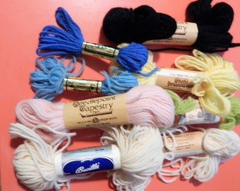 Mixed lot of 100% wool needlepoint tapestry yarn - blues, ecru, green, pink, yellow and black