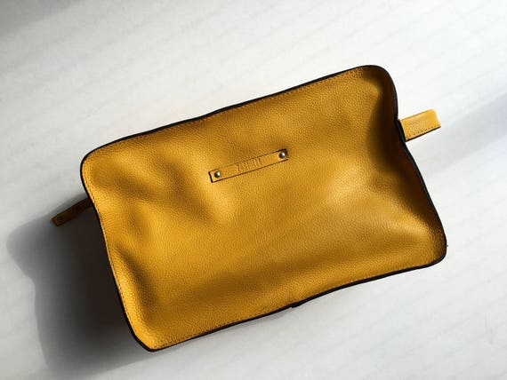 Cosmetic Pouch, Genuine Leather Cosmetic Pouch, Leather Neccessaire, Handmade Bag, Gift for Her, Yellow Bag, Hand Bag, Mens Dopp Kit