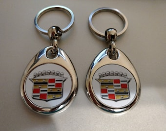 CADILLAC KEYCHAINS 2 PACK double sided classic car 50's 60's 70's
