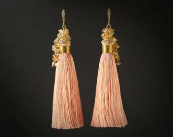 Tassel Earrings Cream Peach and Gold Earrings with Citrine Gemstone Peach Blush Tassels Jewelry