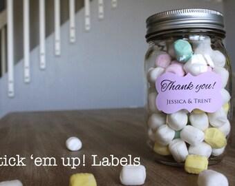 Custom Thank You Stickers Wedding Candy Favors Dessert Bar Buffet Mason Jar Stickers