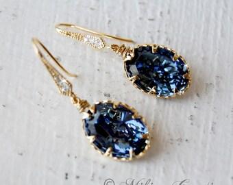 Wedding Jewelry, Bridesmaid Earrings Jewelry, Blue Earrings, Wedding Jewelry - Denim Blue Swarovski Crystal Earrings