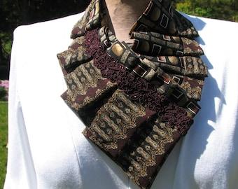 NEW - Necktie Necklace - Silk ascot - Refashioned Necktie - Pleated Necktie