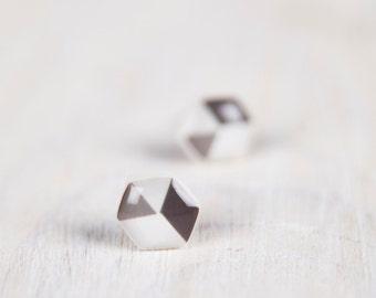 Geometric Hex Earrings, Hexagon Earrings Studs, Geometric Earrings, Grey Earrings, Honeycomb Earrings, Mens Earrings