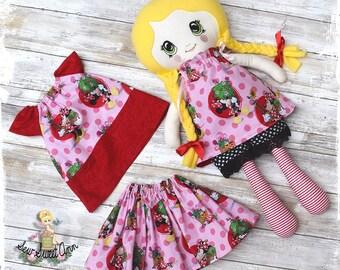 Fabric Doll - Cloth Doll - Rag Doll - Heirloom Doll - Handmade - Doll Set - Dress up Doll