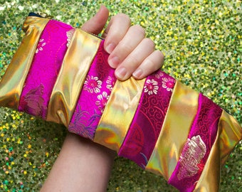 Chinese Circus - Patchwork Stripe Brocade and Gold Holographic Pouch - lined  zip zipper - Unique Handmade in USA Moth & Rust