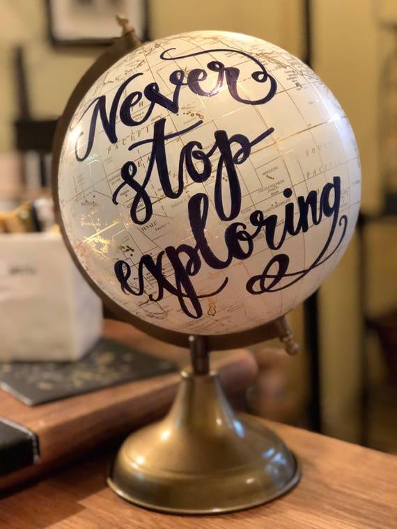 Custom Calligraphy Globe / White and Gold Calligraphy Globe w/Navy Ink / Custom Wording/Ink Color - Wedding Guest Book Globe/ Nursery Globe