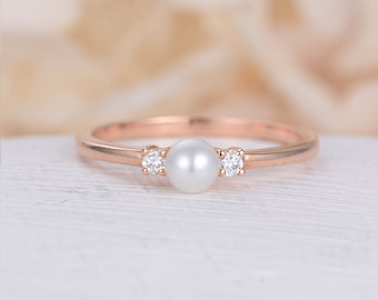 Pearl engagement ring rose gold Diamond wedding women Dainty Three stone Bridal Jewelry Unique Antique Birthstone Promise Anniversary gift