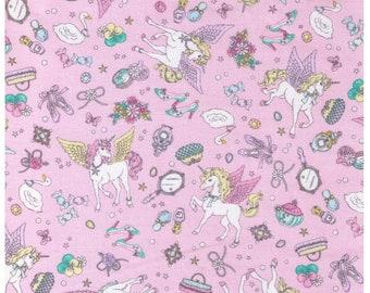 HALF YARD Cosmo Textile - Vanilla Pop Glitter Alacorn Lolita Mix on PINK - AP65503-2 - Glitter Pegacorn Pegasus Unicorn Mythical Sparkle
