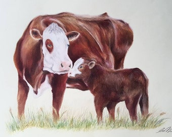 Cow and Calf Coloured Print