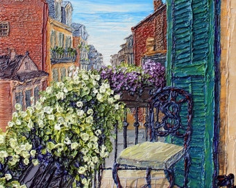 Spring Balcony - matted to fit 11x14 - PRINT