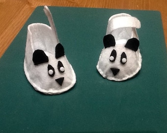 Felt baby booties little white pandas.