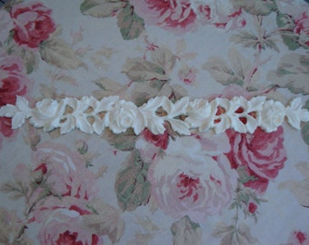 "Antique Roses & Leaves Moulding Trim 17 3/4"" Furniture Applique Architectural Onlay"