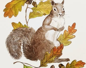 Squirrel with Oak Leaves and Acorns Original Painting