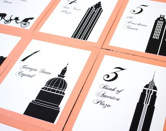 Atlanta Table Number Wedding Decor Georgia Icons Landmarks Silhouette City Reception Sign
