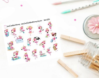 Anna Belle the Flamingo Functional Activity Sticker Sampler
