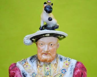HENRY THE V111s CAT Assemblage Recycled Art Figure Found Objects Quirky Unusual Display Piece British Historical Unique Gift!