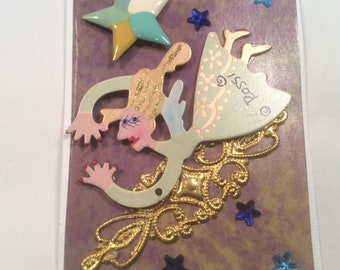 """ACEO Tiny Mini Art Card Magnet - """"Flying Angel"""""""
