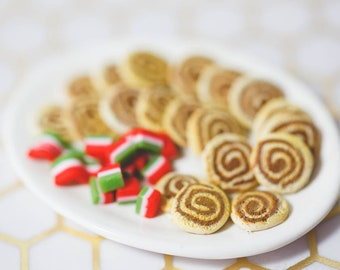 SALE! One Sixth Scale Miniature Platter of Holiday Swirl Cookies and Christmas Candy for Playscale Dolls