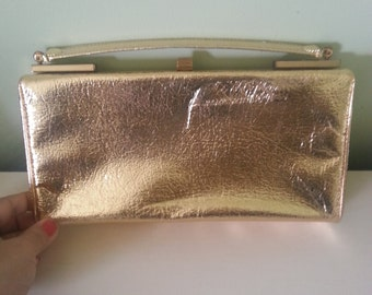 vintage handbag, vintage purse, vintage clutch,1950's handbag, 1950's purse, Gold vintage purse, gold hand bag A16