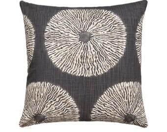 Shibori Pillow, Charcoal Grey Shibori Pillow Cover, Shibori Sol Pillow, Shibori Pillow Sham, Shibori Greystone Accent Cushion/Hidden Zipper